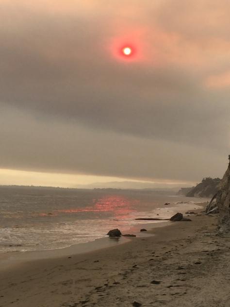 smokey sun at beach