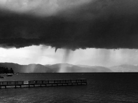 Lake Tahoe Waterspout Tornado bw